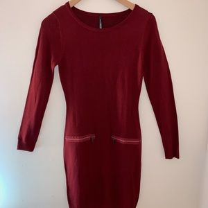 MAC NEW YORK Red fall dress with zippers